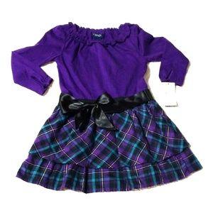 NWT Chaps Purple Black Plaid Dress 4